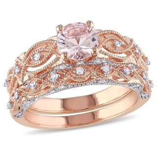 Miadora 10k Rose Gold Morganite and 1/4ct TDW Diamond Infinity Bridal Ring Set