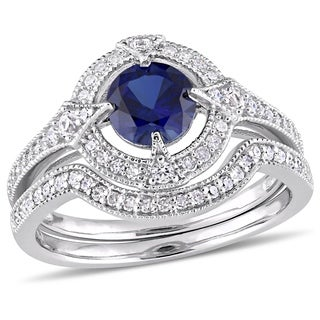 Miadora Sterling Silver Created Blue and White Sapphire 1/3ct TDW Diamond Halo Bridal Ring Set
