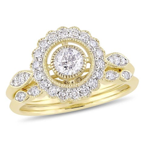 Miadora 10k Yellow Gold 3/4ct TDW Diamond Halo Floral Bridal Ring Set