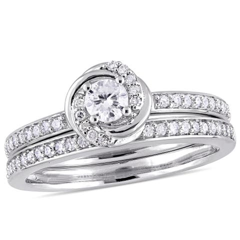 Miadora 10k White Gold 1/2ct TDW Diamond Swirl Bridal Ring Set