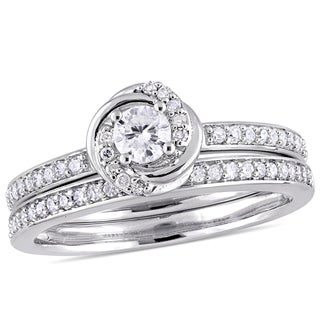 Miadora 10k White Gold 1/2ct TDW Diamond Swirl Bridal Ring Set