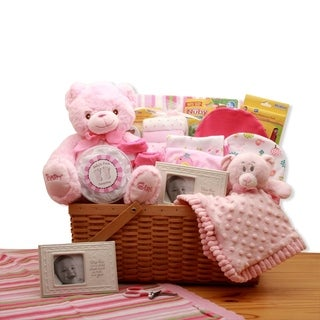 My First Teddy Bear New Baby Gift Basket - Pink