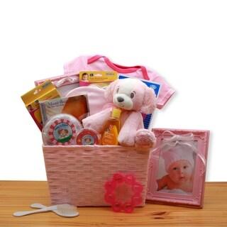 Puppy Love New Baby Gift Basket - Pink
