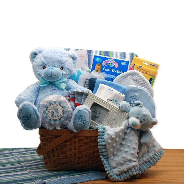 Shop My First Teddy Bear New Baby Gift Basket - Blue - Free Shipping Today - Overstock - 23505725