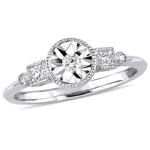 Miadora 10k White Gold 1/7ct TDW Diamond Halo Engagement Ring