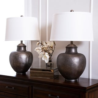 Abbyson Claire Brown Hammer 24.5-inch Table Lamp (Set of 2)