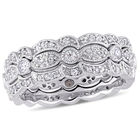 Miadora Sterling Silver White Sapphire Three-Row Stackable Ring Set