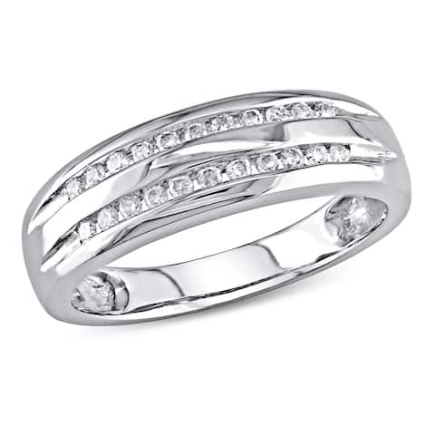 Miadora 10k White Gold 1/6ct TDW Double-Row Anniversary Band