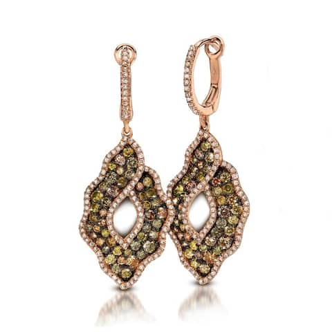 14K Rose Gold Earrings; Round Multi Diamond Dangling Earrings with Leverback Clasp