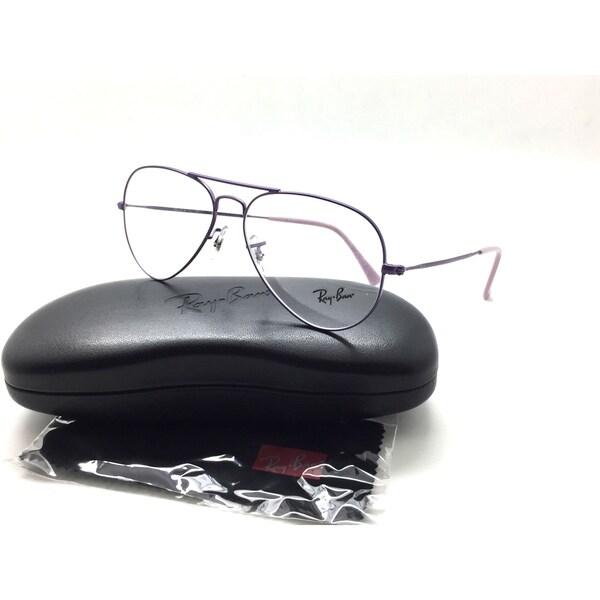 75572876e Ray Ban Purple Pilot Women Eyeglasses RB 6049 2669 55 Metal Demo Lenses