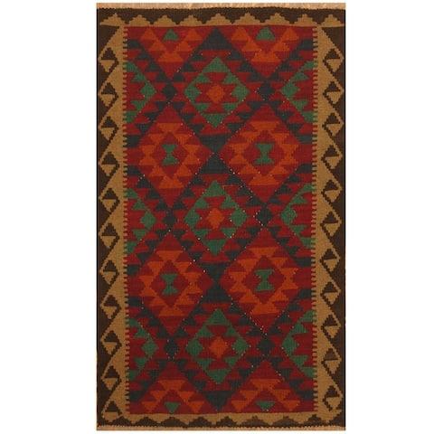 Handmade One-of-a-Kind Maimana Kilim Wool Rug (Afghanistan) - 3'2 x 5'2