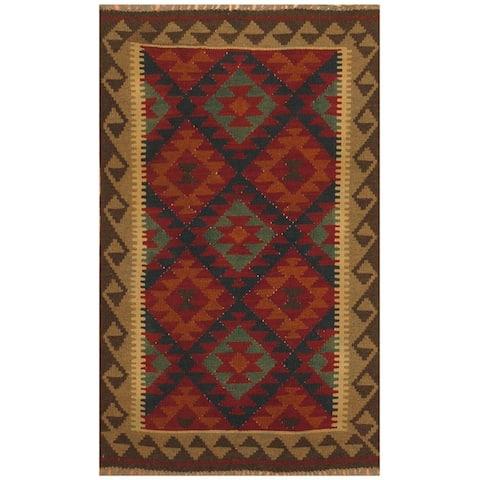 Handmade One-of-a-Kind Maimana Kilim Wool Rug (Afghanistan) - 3'2 x 5'1