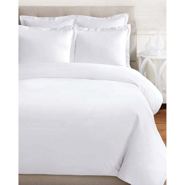 Soild Crisp Percale Cotton 2 Pleats Duvet Set