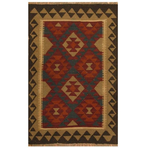 Handmade One-of-a-Kind Maimana Kilim Wool Rug (Afghanistan) - 3'1 x 4'9