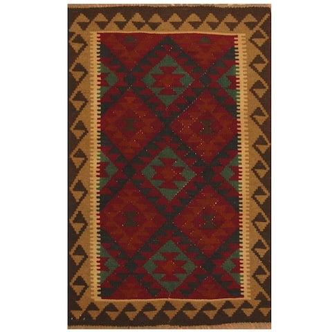 Handmade One-of-a-Kind Maimana Kilim Wool Rug (Afghanistan) - 3'2 x 6'