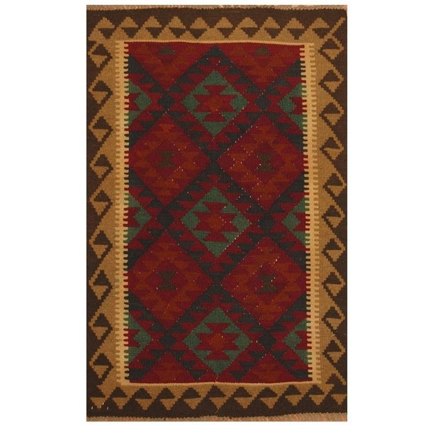Handmade Maimana Kilim Wool Rug (Afghanistan) - 3'2 x 6'