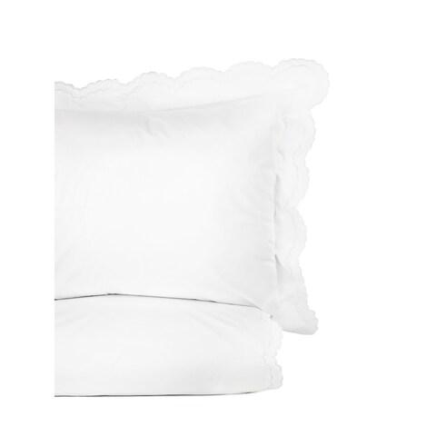 Embroidered Percale Crisp Cotton Double Scallopier Duvet Set