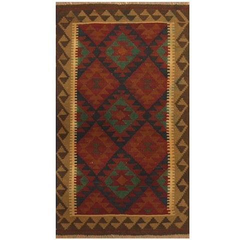 Handmade One-of-a-Kind Maimana Kilim Wool Rug (Afghanistan) - 3' x 5'2