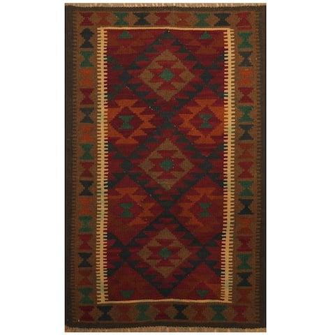 Handmade One-of-a-Kind Maimana Kilim Wool Rug (Afghanistan) - 3'2 x 5'