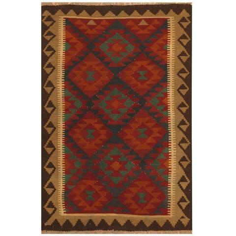 Handmade One-of-a-Kind Maimana Kilim Wool Rug (Afghanistan) - 3'3 x 5'4