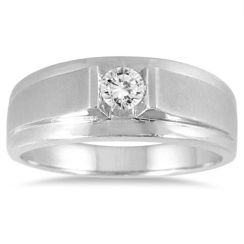 1/3 Carat Men's Diamond Solitaire Ring in 10K White Gold