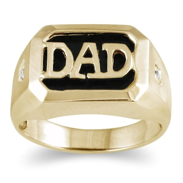 Onyx & Diamond DAD Ring 10k Yellow Gold. Opens flyout.