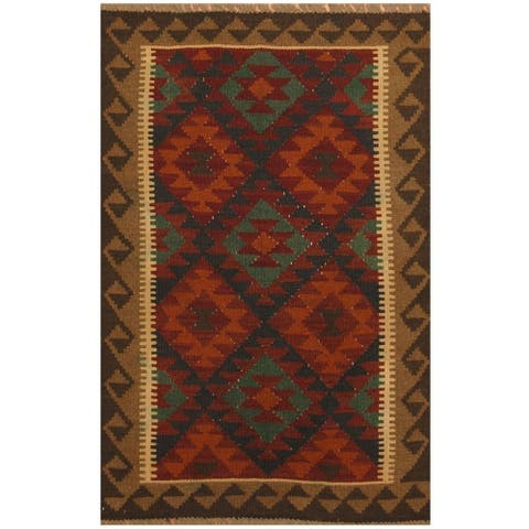 Handmade One-of-a-Kind Maimana Kilim Wool Rug (Afghanistan) - 3'2 x 4'10