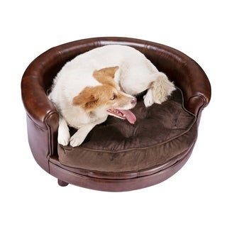 Chesterfield Faux Leather Large Dog Bed Designer Pet Sofa By Villacera