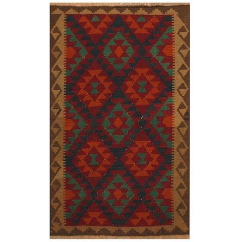 Handmade One-of-a-Kind Maimana Kilim Wool Rug (Afghanistan) - 3'3 x 5'1