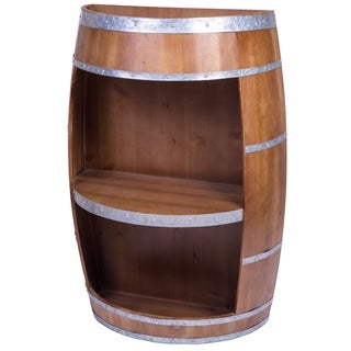 Rustic Wine Barrel Bar Storage Rack, Industrial Style End Table