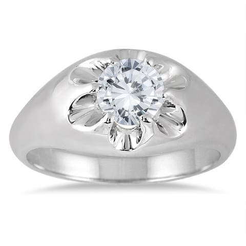 AGS Certified 1 Carat Men's Diamond Solitaire Ring in 10K White Gold (I-J Color, I2-I3 Clarity)