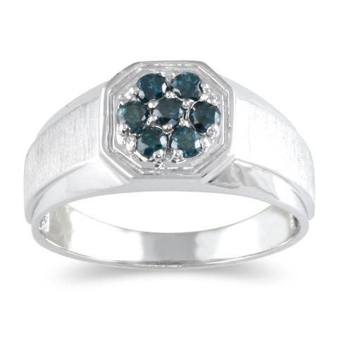 Men's Blue Diamond Cluster Ring in 14k White Gold