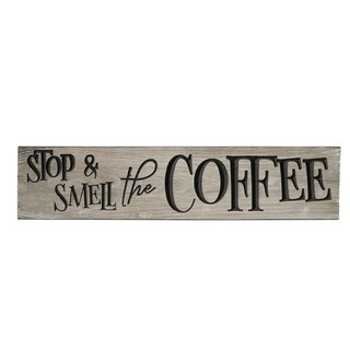 Rustic Wall Sign - Stop & Smell the Coffee - Weathered Gray