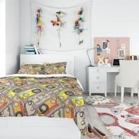 Designart 'Pattern of Vintage Audio Cassettes' Modern Teen Bedding Set - Duvet Cover & Shams