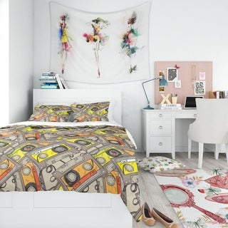 Designart - Pattern of Vintage Audio Cassettes - Modern Teen Duvet Cover Set