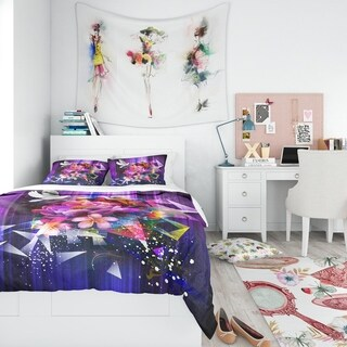 Designart - Abstract Floral Design with Dove - Modern & Contemporary Duvet Cover Set