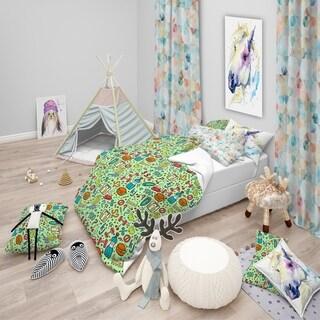 Designart - Diet Green Pattern - Modern kids Duvet Cover Set