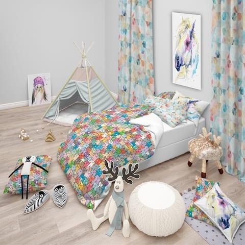 Designart 'Funny Cat'S Heads Pattern' Modern kids Bedding Set - Duvet Cover & Shams