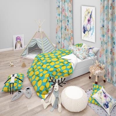 Designart 'Lemon Pattern' Tropical kids Bedding Set - Duvet Cover & Shams