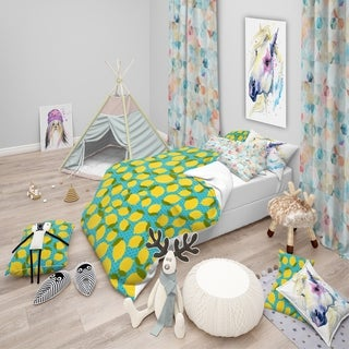 Designart - Lemon Pattern - Tropical kids Duvet Cover Set