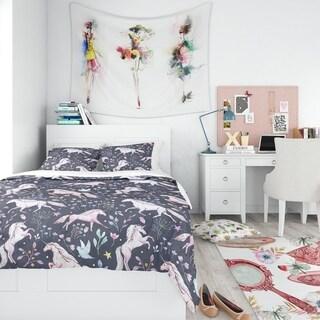 Designart - Watercolor Unicorn Pattern - Modern Teen Duvet Cover Set