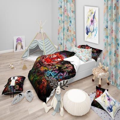 Designart 'Tiger and Panther with Splashes' Modern kids Bedding Set - Duvet Cover & Shams