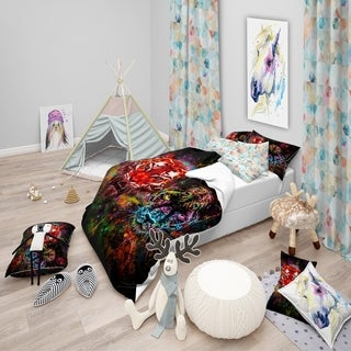 Designart - Tiger and Panther with Splashes - Modern kids Duvet Cover Set