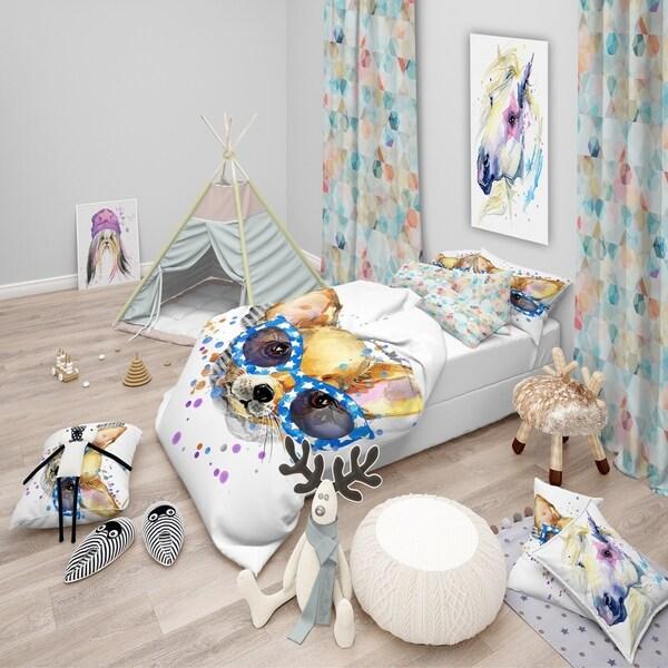 Designart 'Cute Puppy with Blue Glasses' Modern & Contemporary Bedding Set - Duvet Cover & Shams
