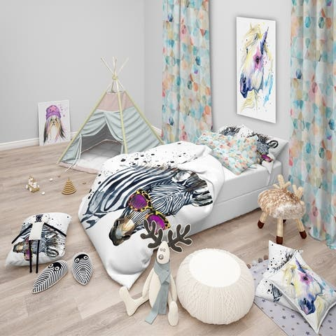 Designart 'Funny Zebra Watercolor' Modern & Contemporary Bedding Set - Duvet Cover & Shams