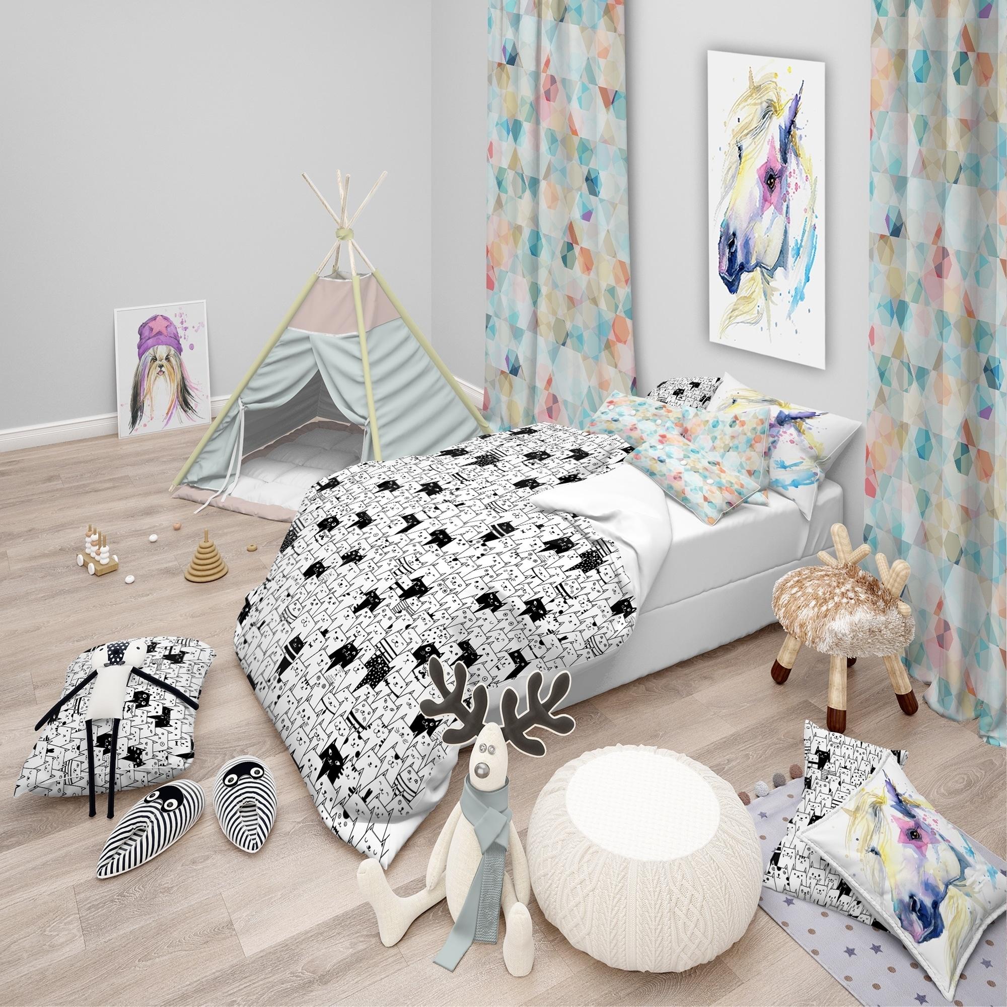 Designart Cats Pattern Modern Teen Bedding Set Duvet Cover Shams On Sale Overstock 23506264