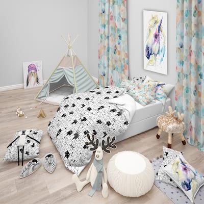 Designart 'Cats Pattern' Modern Teen Bedding Set - Duvet Cover & Shams