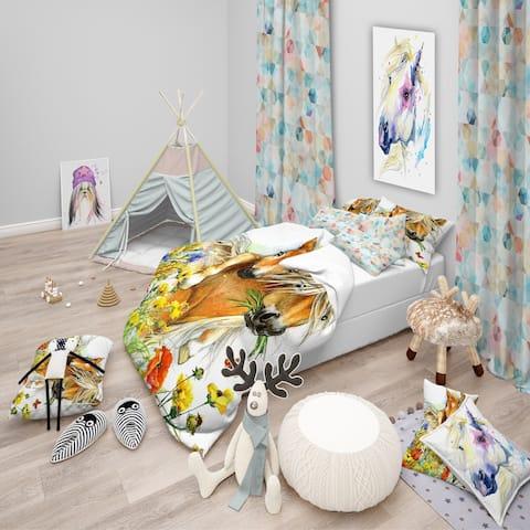 Designart 'Horse and Foal with Flowers' Modern kids Bedding Set - Duvet Cover & Shams