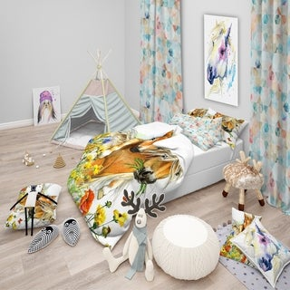 Designart - Horse and Foal with Flowers - Modern kids Duvet Cover Set