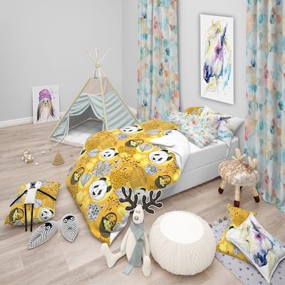 Designart 'Cute Doodle Panda' Oriental kids Bedding Set - Duvet Cover & Shams